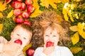 Children in autumn park Royalty Free Stock Photo