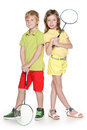 Children with badminton racket two cheerful a standing together and hold Royalty Free Stock Photography