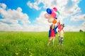 Children With Balloons Walking...