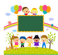 Children and banner Stock Images