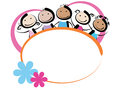 Children with banner a oval frame Stock Photos