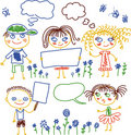 Children with banners and flowers invector  Royalty Free Stock Images