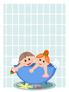 Children in the bath background with Royalty Free Stock Photos