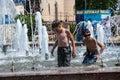 Children bathe in the fountain orenburg orenburg region russia june year Royalty Free Stock Photography