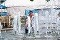 Children bathe in the fountain orenburg orenburg region russia june year Royalty Free Stock Photo