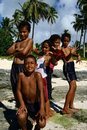 Children in the beach of Samoa Stock Image