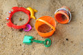 Children beach toys and sand Stock Image