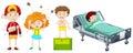 Children being sick from different disease