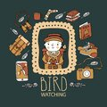 Children bird watching. Birding and ornithology concept Royalty Free Stock Photo