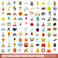 100 children birthday icons set, flat style
