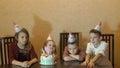 Children boring on birthday party. birthday cake for little birthday girl Royalty Free Stock Photo
