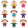 Children boys and girls set happy little standing smiling Royalty Free Stock Photography