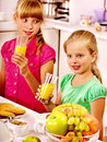 Children breakfast at kitchen happy Stock Image