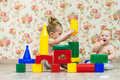 Children build a castle Royalty Free Stock Photo