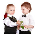 Children in business suit with rose. Stock Image