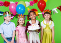 Children with cake Royalty Free Stock Photos