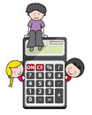 Children with a calculator funny illustration for back to school Stock Photos