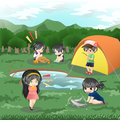 Children are camping in the wilderness vector and doing leisure activities create by Royalty Free Stock Photos