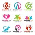 Children care and family care logo vector set design