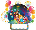Children at the carnival with an empty space for advert illustration of on a white background Royalty Free Stock Photo