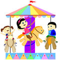 Children on the carousel ride Royalty Free Stock Image