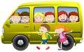 Children carpooling on the van