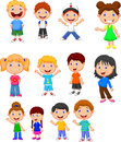 Children cartoon collection set illustration of Stock Images