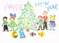 Children celebrate New Year Royalty Free Stock Photography