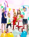 Children celebrating birthday croup of happy Royalty Free Stock Image