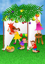 Children celebrating the feast of succot a digitally created colourful cartoon illustration a group happy making their own tent in Royalty Free Stock Images