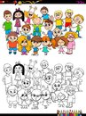 Children characters group coloring book Royalty Free Stock Photo