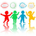 Children with chat bubbles Royalty Free Stock Photo