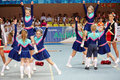Children cheerleaders team perform stunts moscow mar girls and boys from at championship and contests of moscow in cheerleading at Stock Photo