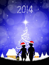 Children at christmas illustration of Royalty Free Stock Images