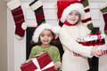 Children with Christmas Presents Stock Photo