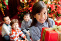 Children with Christmas presents Royalty Free Stock Photography