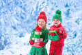 stock image of  Children with Christmas presents