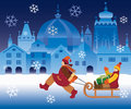 Children and christmas town small girl pulling a boy with a box on a sled on the background vector illustration Royalty Free Stock Photo