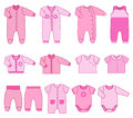 Children clothes for newborn baby girls. Vector illustration.