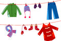 Children clothesline Stock Images