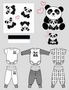 Children clothing panda pattern  Stock Image