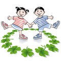 Children and  clover Royalty Free Stock Image