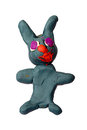 Children color plasticine background sculpt rabbit from plastiline Stock Image
