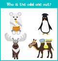 Children colorful educational cartoon game puzzle page for children s books and magazines on the theme get extra animal among anim Royalty Free Stock Photos