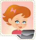 Cartoon Illustration of a Little Girl in Front of a Laptop Royalty Free Stock Photo