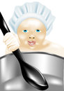 Children cooking little baby with a large spoon Stock Photography