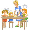 Children cooking patty with mom.