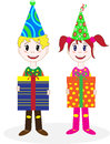 Children in costumes clown the stock picture dressed a costume with gifts Royalty Free Stock Photography