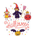 Children in costumes greeting halloween card with lettering halloween and witch and pumpkin trick o treat background Royalty Free Stock Image