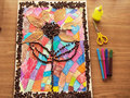 Children craft with coffee beans in shape of flower Royalty Free Stock Photos